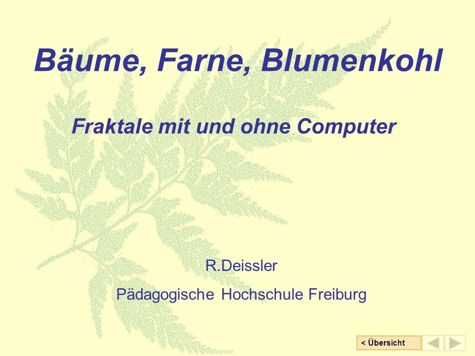 < Übersicht Bäume, Farne, Blumenkohl Fraktale mit und ohne Computer R.Deissler Pädagogische Hochschule Freiburg
