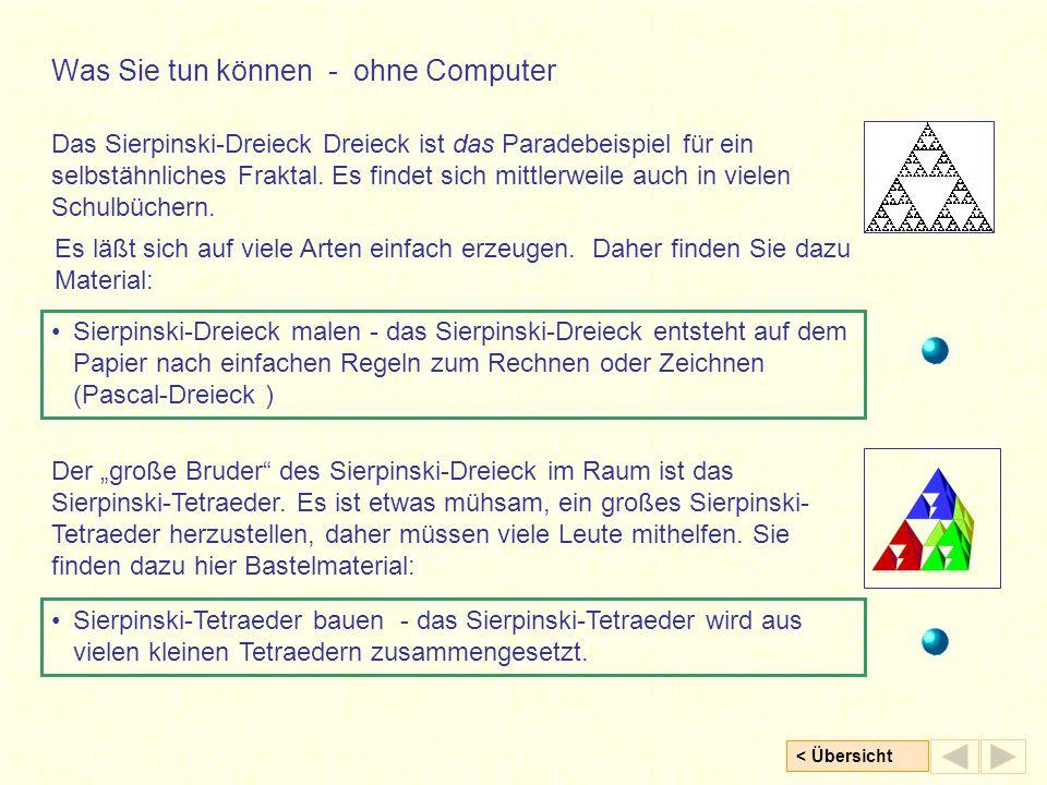 < Übersicht Das Sierpinski-Dreieck Dreieck ist das Paradebeispiel für ein selbstähnliches Fraktal.