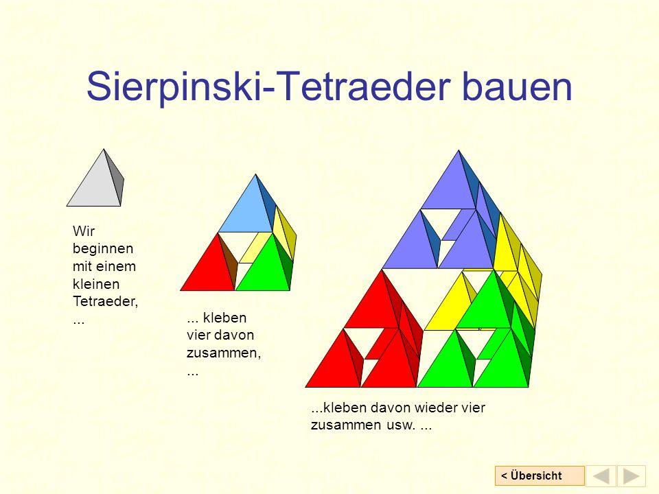 < Übersicht Sierpinski-Tetraeder bauen Wir beginnen mit einem kleinen Tetraeder,...... kleben vier davon zusammen,......kleben davon wieder vier zusam