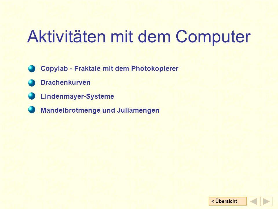 < Übersicht Aktivitäten mit dem Computer Copylab - Fraktale mit dem Photokopierer Lindenmayer-Systeme Mandelbrotmenge und Juliamengen Drachenkurven