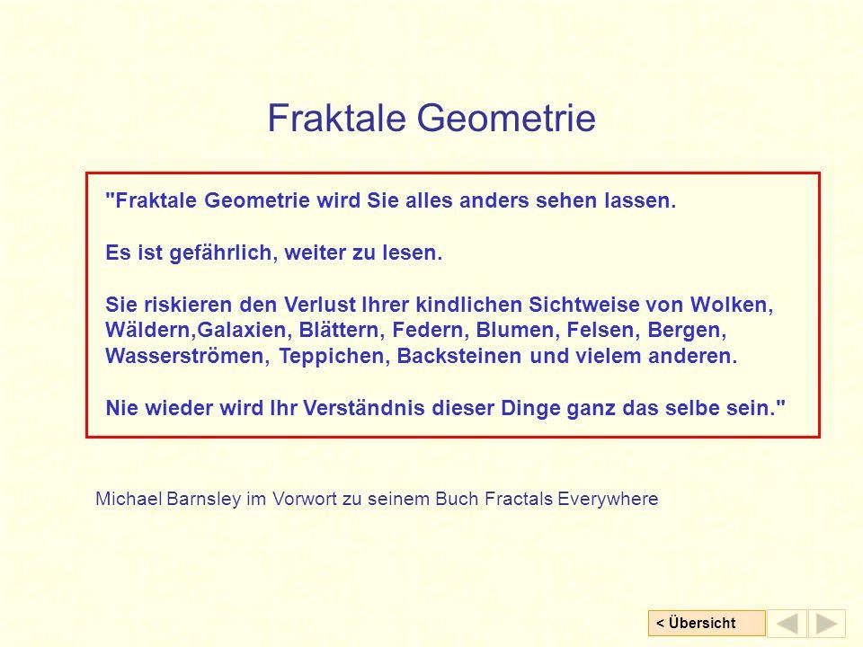 < Übersicht Fraktale Geometrie Fraktale Geometrie wird Sie alles anders sehen lassen.