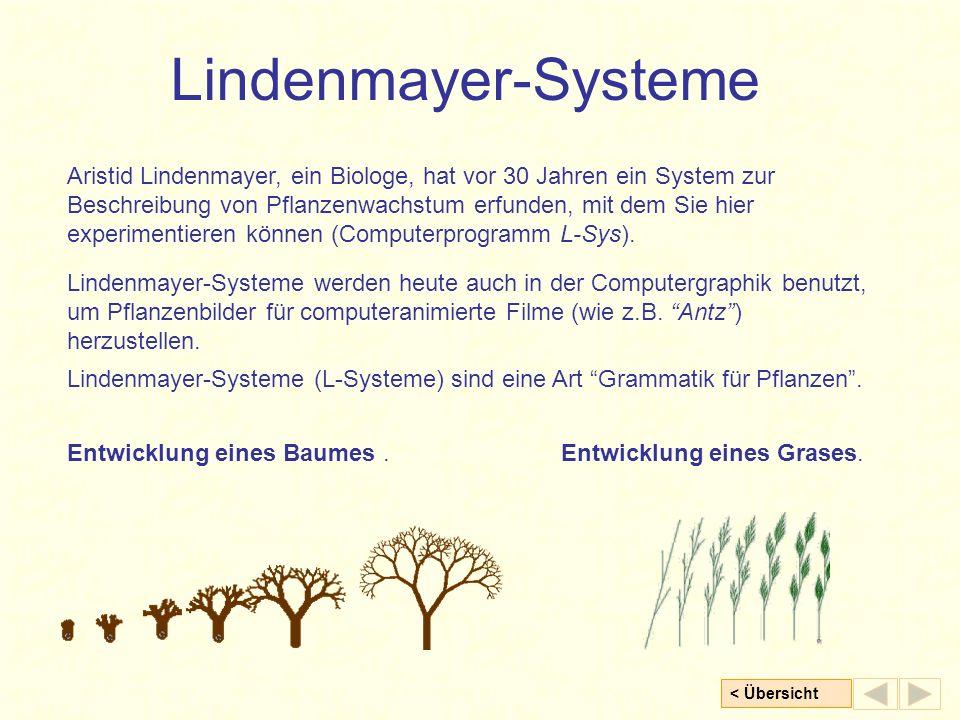 < Übersicht Lindenmayer-Systeme Aristid Lindenmayer, ein Biologe, hat vor 30 Jahren ein System zur Beschreibung von Pflanzenwachstum erfunden, mit dem Sie hier experimentieren können (Computerprogramm L-Sys).