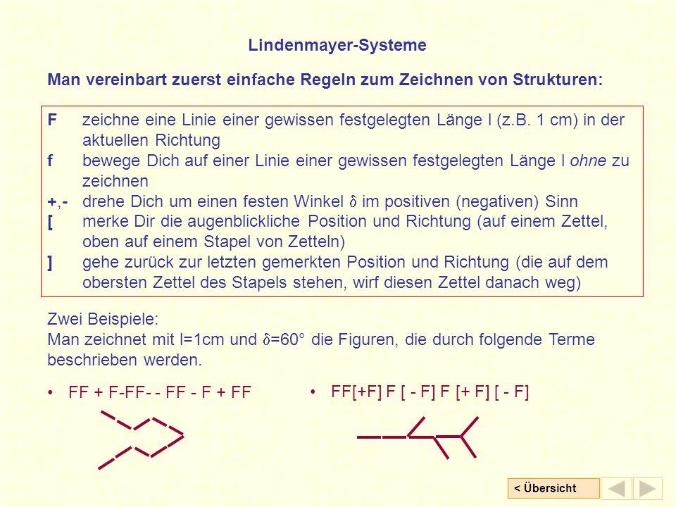< Übersicht Lindenmayer-Systeme Fzeichne eine Linie einer gewissen festgelegten Länge l (z.B. 1 cm) in der aktuellen Richtung fbewege Dich auf einer L