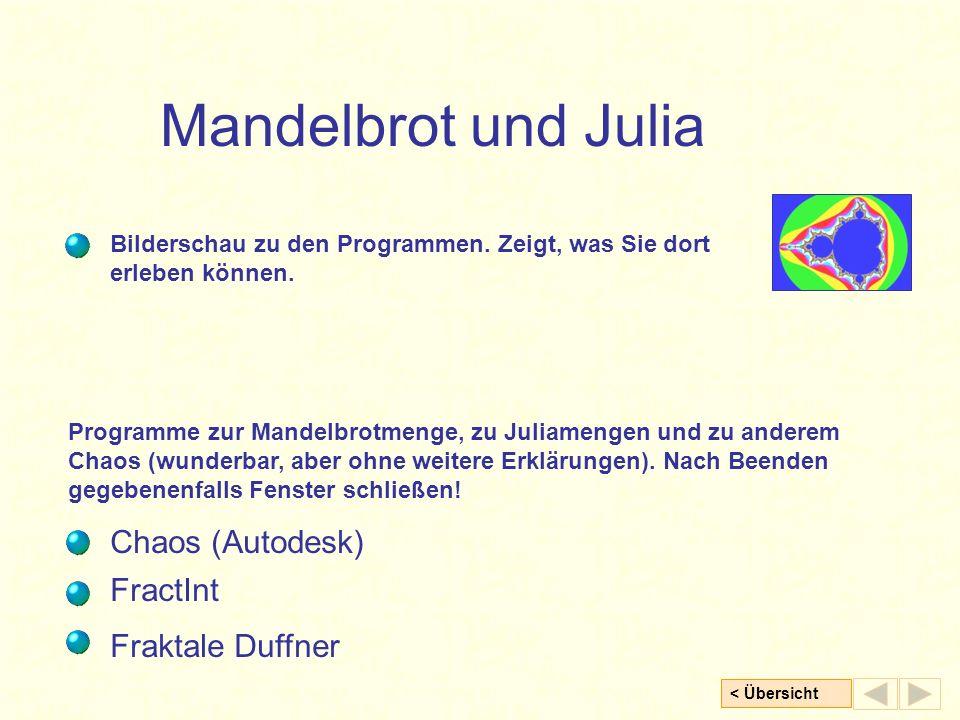 < Übersicht Mandelbrot und Julia Programme zur Mandelbrotmenge, zu Juliamengen und zu anderem Chaos (wunderbar, aber ohne weitere Erklärungen).