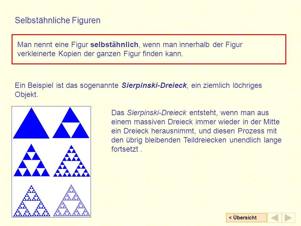 < Übersicht Man nennt eine Figur selbstähnlich, wenn man innerhalb der Figur verkleinerte Kopien der ganzen Figur finden kann.