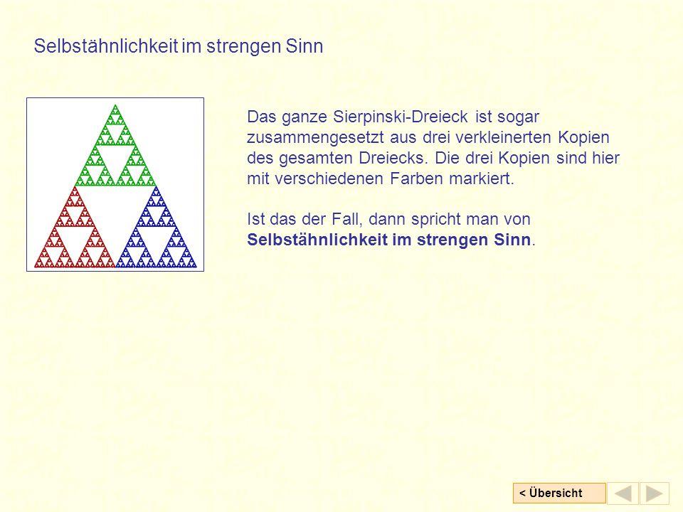 < Übersicht Das ganze Sierpinski-Dreieck ist sogar zusammengesetzt aus drei verkleinerten Kopien des gesamten Dreiecks. Die drei Kopien sind hier mit