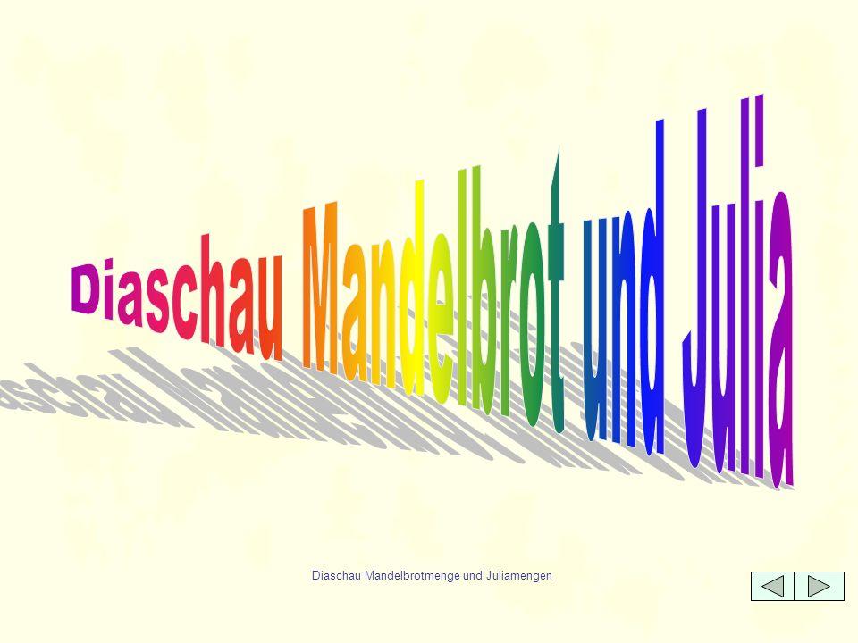 Benutzte Programme FractInt für Windows Aus dem Internet, bietet alles, was man sich wünschen kann Fraktale Aus dem Buch: Dufner,J., Roser, A., Unseld, F., Fraktale und Julia-Mengen, Verlag Harry Deutsch, Frankfurt 1998.