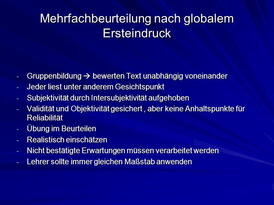 Mehrfachbeurteilung nach globalem Ersteindruck - Gruppenbildung bewerten Text unabhängig voneinander - Jeder liest unter anderem Gesichtspunkt - Subje