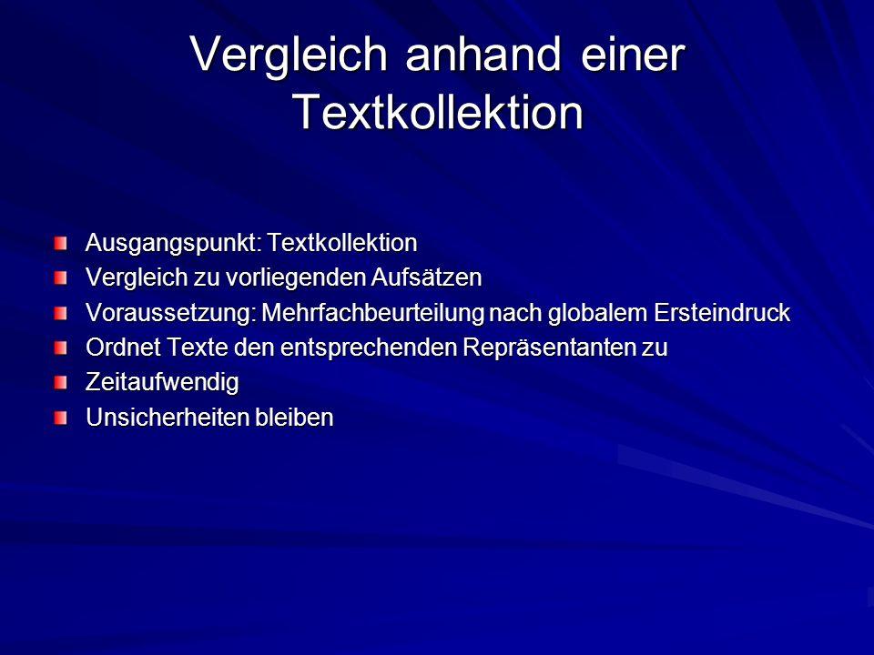 Vergleich anhand einer Textkollektion Ausgangspunkt: Textkollektion Vergleich zu vorliegenden Aufsätzen Voraussetzung: Mehrfachbeurteilung nach global