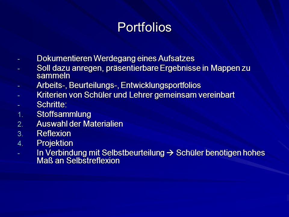 Portfolios - Dokumentieren Werdegang eines Aufsatzes - Soll dazu anregen, präsentierbare Ergebnisse in Mappen zu sammeln - Arbeits-, Beurteilungs-, En
