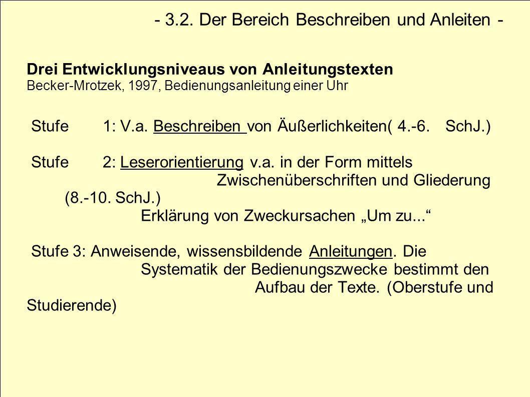 Drei Entwicklungsniveaus von Anleitungstexten Becker-Mrotzek, 1997, Bedienungsanleitung einer Uhr Stufe 1: V.a. Beschreiben von Äußerlichkeiten( 4.-6.