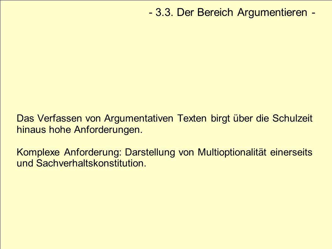 Das Verfassen von Argumentativen Texten birgt über die Schulzeit hinaus hohe Anforderungen. Komplexe Anforderung: Darstellung von Multioptionalität ei