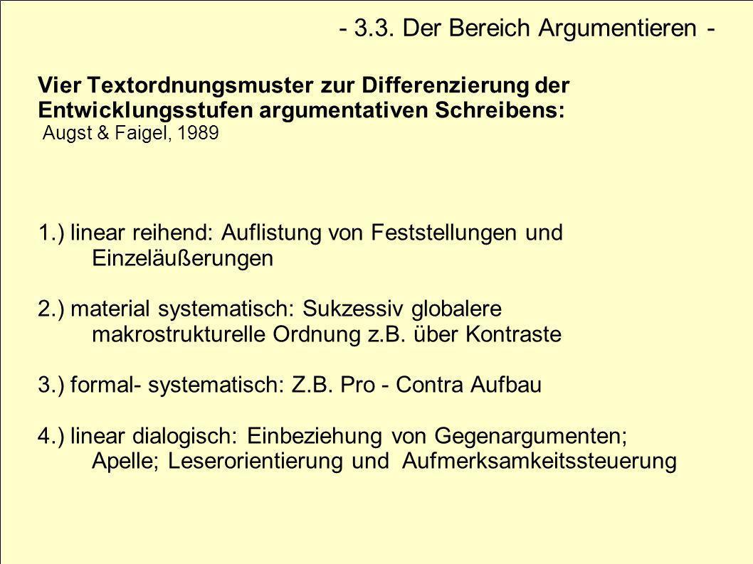 Vier Textordnungsmuster zur Differenzierung der Entwicklungsstufen argumentativen Schreibens: Augst & Faigel, 1989 1.) linear reihend: Auflistung von