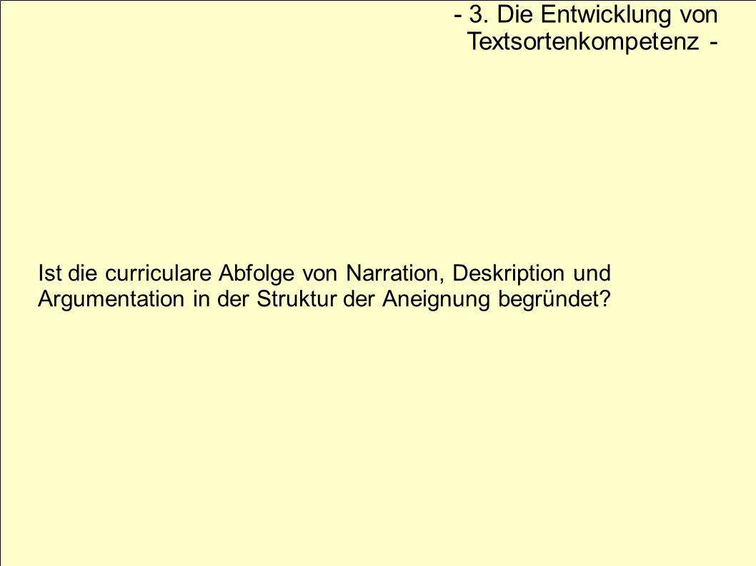 Ist die curriculare Abfolge von Narration, Deskription und Argumentation in der Struktur der Aneignung begründet? - 3. Die Entwicklung von Textsortenk