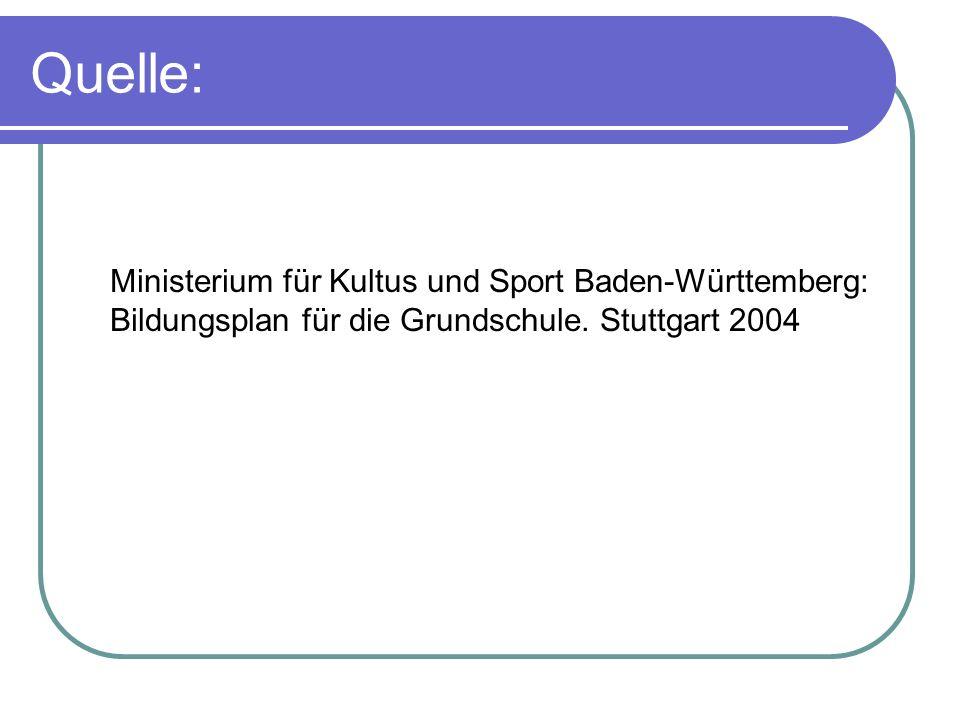 Quelle: Ministerium für Kultus und Sport Baden-Württemberg: Bildungsplan für die Grundschule. Stuttgart 2004