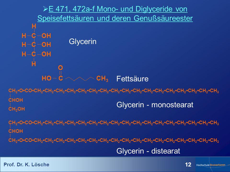 Prof. Dr. K. Lösche 12 E 471, 472a-f Mono- und Diglyceride von Speisefettsäuren und deren Genußsäureester Glycerin Fettsäure CH 2OCOCH 2CH 2CH 2CH 2CH