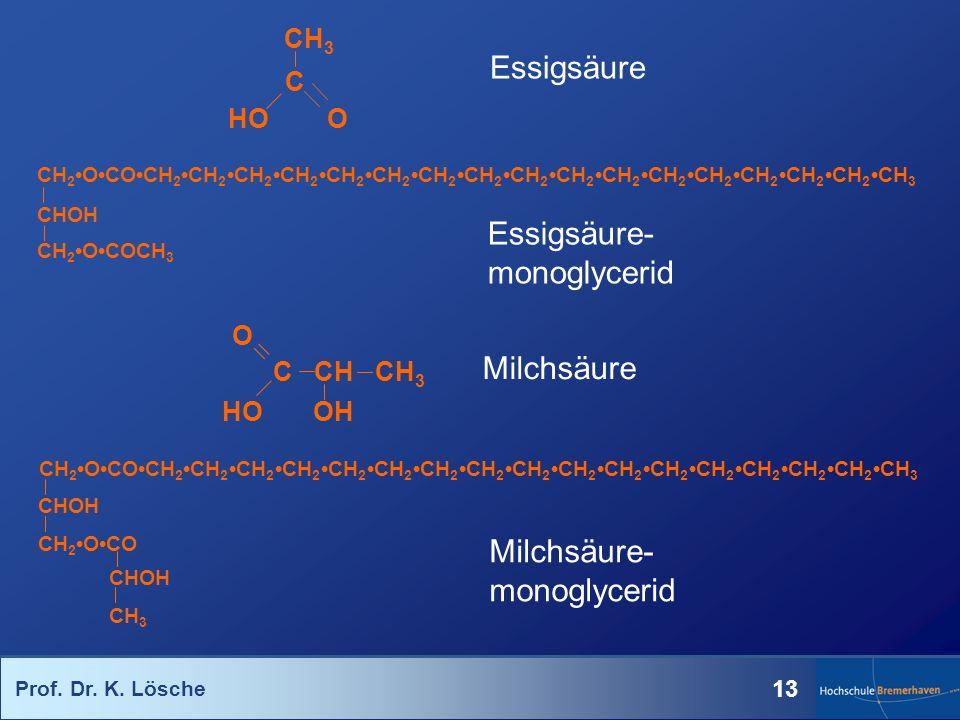 Prof. Dr. K. Lösche 13 Essigsäure CH 2OCOCH 2CH 2CH 2CH 2CH 2CH 2CH 2CH 2CH 2CH 2CH 2CH 2CH 2CH 2CH 2CH 2CH 3 CHOH CH 2OCOCH 3 Essigsäure- monoglyceri