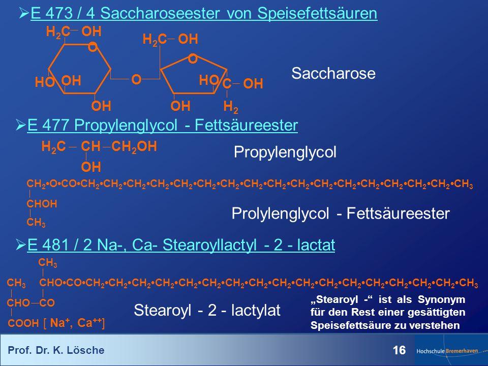 Prof. Dr. K. Lösche 16 E 473 / 4 Saccharoseester von Speisefettsäuren Saccharose H 2 C OH HO OH O O O HO OH C OH H2H2 H 2 C OH CH 2OCOCH 2CH 2CH 2CH 2
