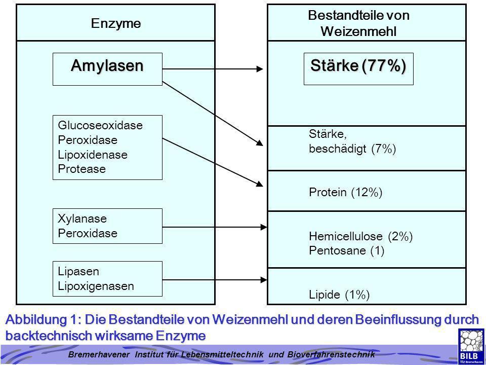 Bremerhavener Institut für Lebensmitteltechnik und Bioverfahrenstechnik Abbildung 2: Einfluss verschiedener Zusatzstoffe in Backmitteln auf das Volumen (x10 3 ) von Weizenbrötchen (6 Stück) Backvolumen (ml) Kontrolle Ascorbin- säure Amylase Ascorbin- säure Emulgator Amylase Ascorbin- säure Xylanase Emulgator Amylase Ascorbin- säure