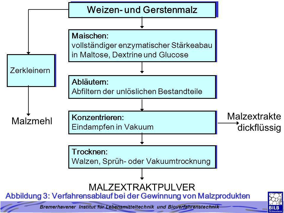 Bremerhavener Institut für Lebensmitteltechnik und Bioverfahrenstechnik Abbildung 3: Verfahrensablauf bei der Gewinnung von Malzprodukten Weizen- und