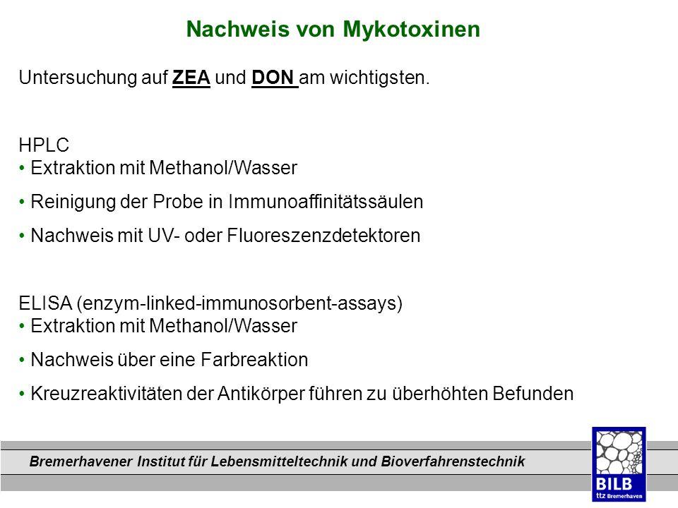 Bremerhavener Institut für Lebensmitteltechnik und Bioverfahrenstechnik Dateinamen Nachweis von Mykotoxinen Untersuchung auf ZEA und DON am wichtigste