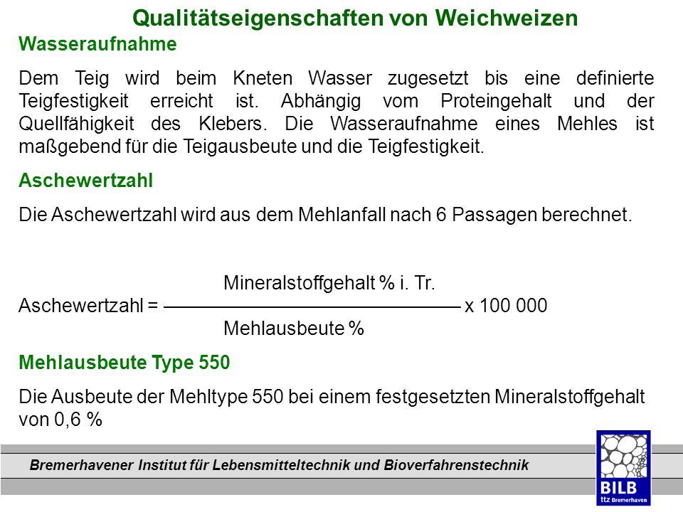 Bremerhavener Institut für Lebensmitteltechnik und Bioverfahrenstechnik Dateinamen Qualitätseigenschaften von Weichweizen Wasseraufnahme Dem Teig wird