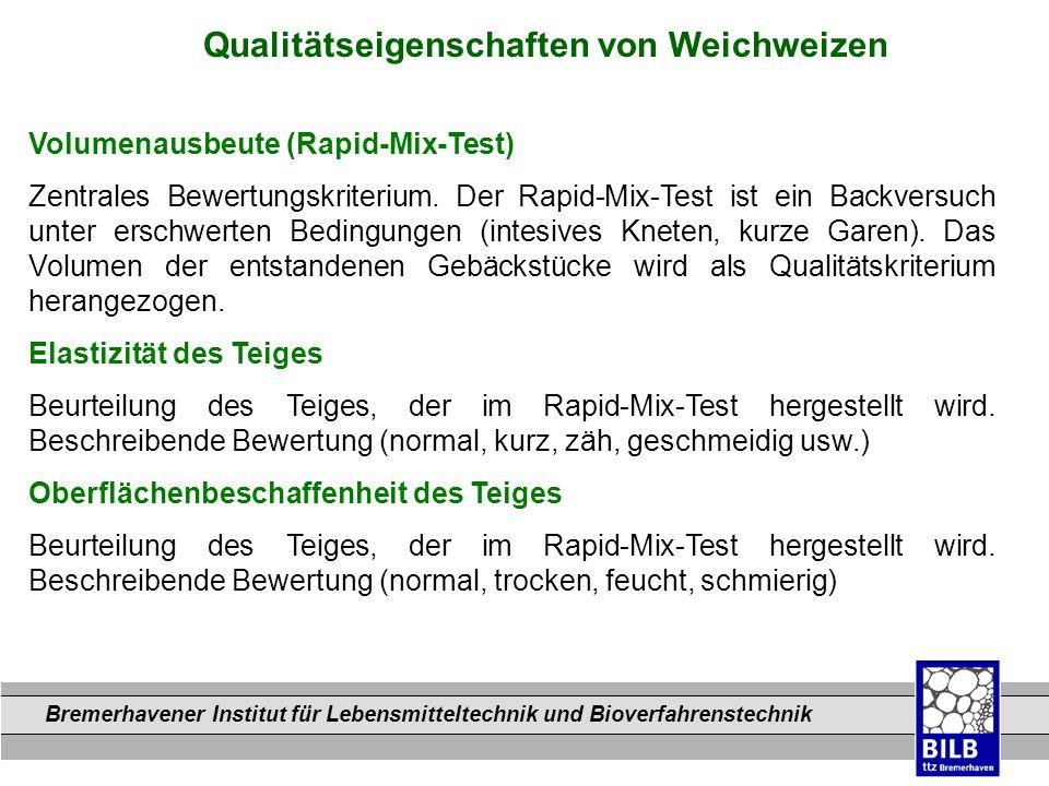 Bremerhavener Institut für Lebensmitteltechnik und Bioverfahrenstechnik Dateinamen Qualitätseigenschaften von Weichweizen Volumenausbeute (Rapid-Mix-T