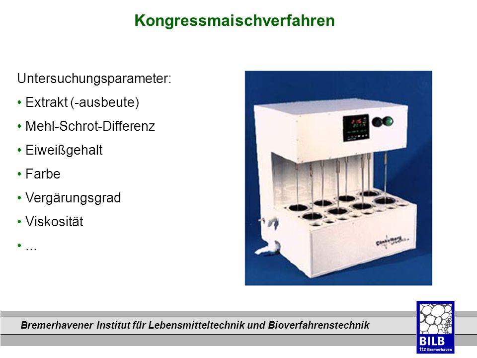 Bremerhavener Institut für Lebensmitteltechnik und Bioverfahrenstechnik Dateinamen Kongressmaischverfahren Untersuchungsparameter: Extrakt (-ausbeute)