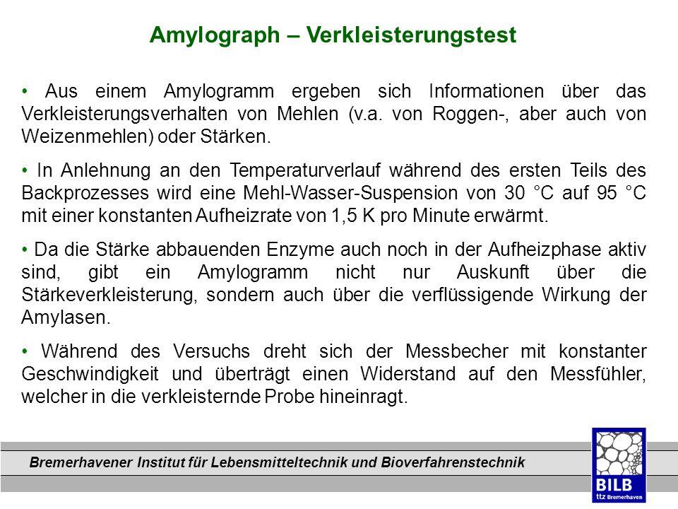 Bremerhavener Institut für Lebensmitteltechnik und Bioverfahrenstechnik Dateinamen Amylograph – Verkleisterungstest Aus einem Amylogramm ergeben sich