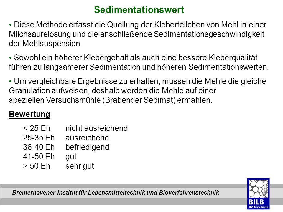 Bremerhavener Institut für Lebensmitteltechnik und Bioverfahrenstechnik Dateinamen Sedimentationswert Diese Methode erfasst die Quellung der Klebertei