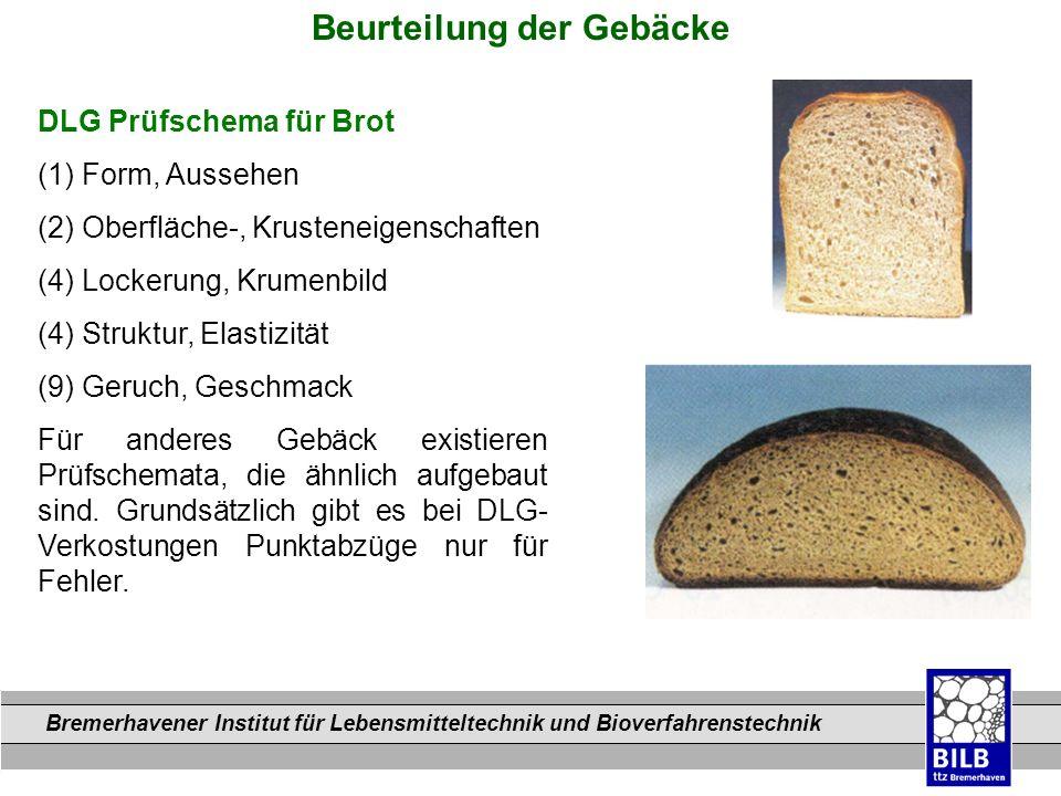 Bremerhavener Institut für Lebensmitteltechnik und Bioverfahrenstechnik Dateinamen DLG Prüfschema für Brot (1) Form, Aussehen (2) Oberfläche-, Krusten