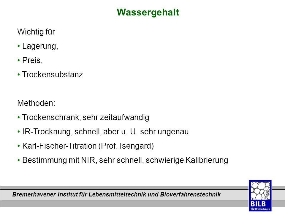 Bremerhavener Institut für Lebensmitteltechnik und Bioverfahrenstechnik Dateinamen Wichtig für Lagerung, Preis, Trockensubstanz Methoden: Trockenschra