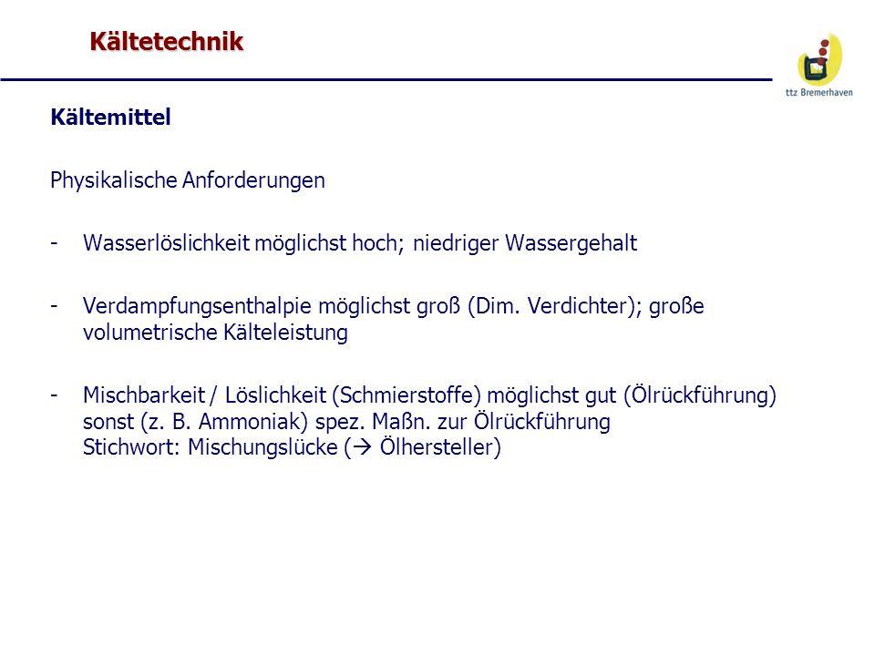 Kältetechnik Kältemittel Chemische Anforderungen -Keine chem.