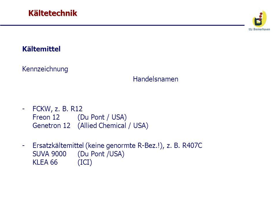 Kältetechnik Kältemittel Kennzeichnung Handelsnamen -FCKW, z. B. R12 Freon 12(Du Pont / USA) Genetron 12(Allied Chemical / USA) -Ersatzkältemittel (ke