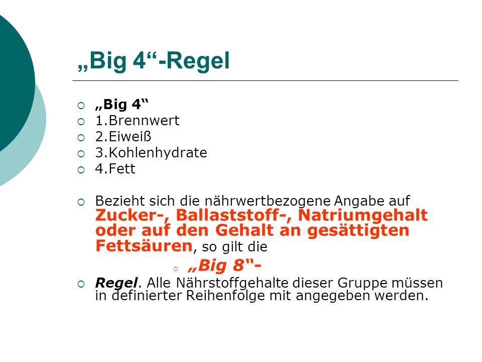 Big 4-Regel Big 4 1.Brennwert 2.Eiweiß 3.Kohlenhydrate 4.Fett Bezieht sich die nährwertbezogene Angabe auf Zucker-, Ballaststoff-, Natriumgehalt oder