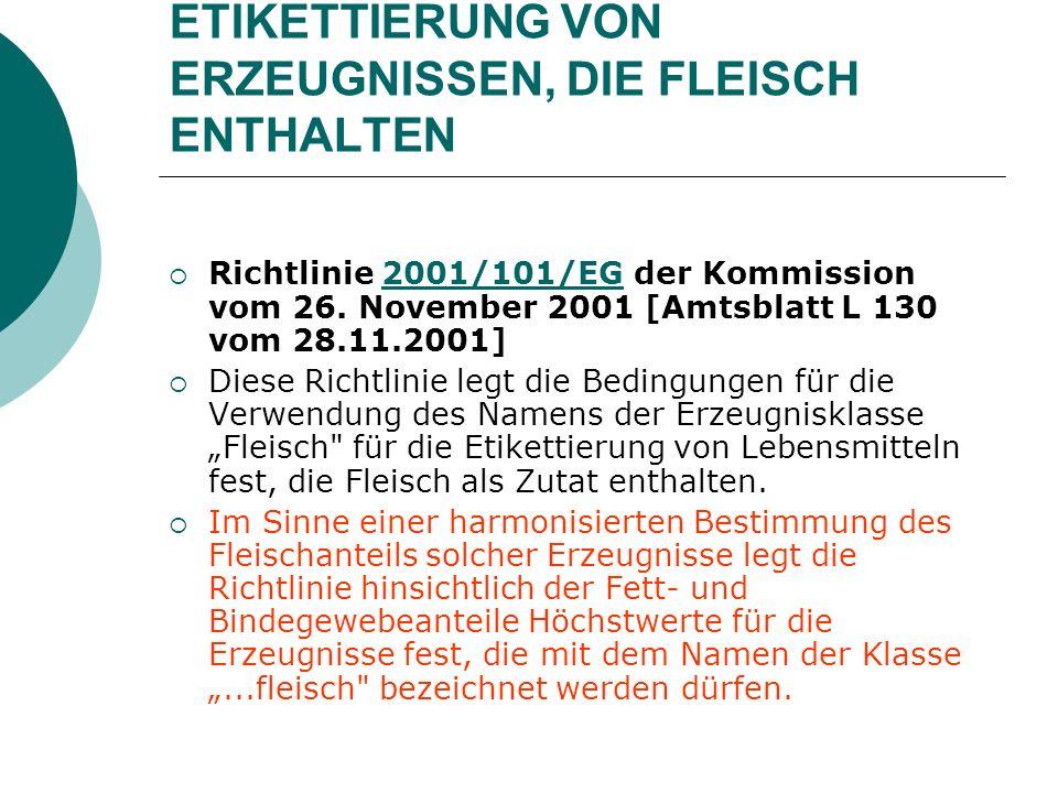 ETIKETTIERUNG VON ERZEUGNISSEN, DIE FLEISCH ENTHALTEN Richtlinie 2001/101/EG der Kommission vom 26. November 2001 [Amtsblatt L 130 vom 28.11.2001]2001