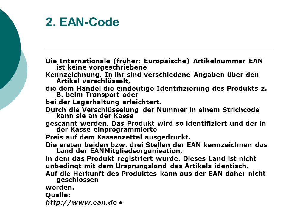 2. EAN-Code Die Internationale (früher: Europäische) Artikelnummer EAN ist keine vorgeschriebene Kennzeichnung. In ihr sind verschiedene Angaben über