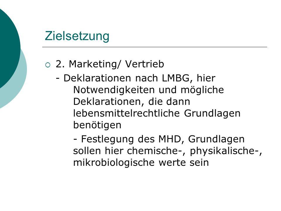 Zielsetzung 2. Marketing/ Vertrieb - Deklarationen nach LMBG, hier Notwendigkeiten und mögliche Deklarationen, die dann lebensmittelrechtliche Grundla
