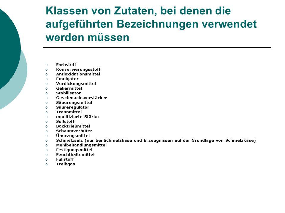 Klassen von Zutaten, bei denen die aufgeführten Bezeichnungen verwendet werden müssen Farbstoff Konservierungsstoff Antioxidationsmittel Emulgator Ver