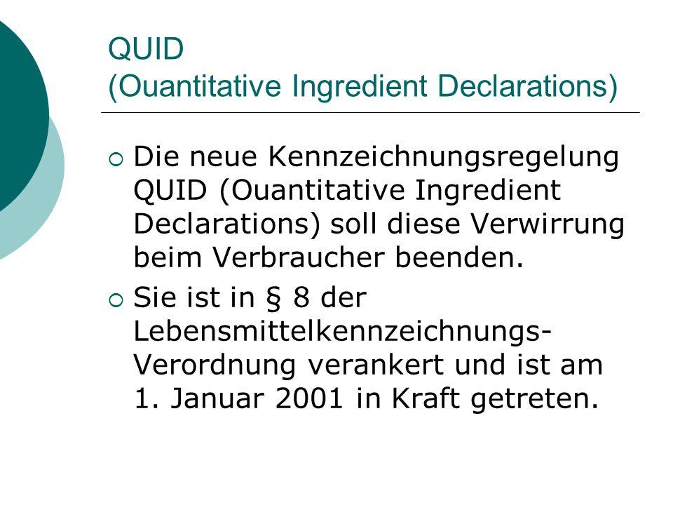 QUID (Ouantitative Ingredient Declarations) Die neue Kennzeichnungsregelung QUID (Ouantitative Ingredient Declarations) soll diese Verwirrung beim Ver