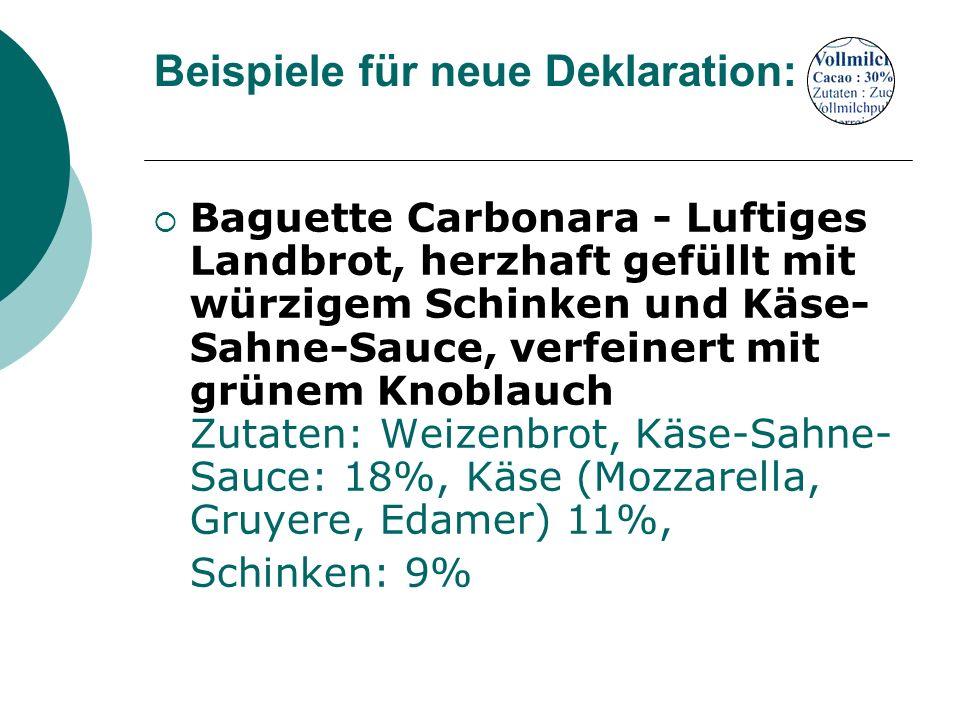 Beispiele für neue Deklaration: Baguette Carbonara - Luftiges Landbrot, herzhaft gefüllt mit würzigem Schinken und Käse- Sahne-Sauce, verfeinert mit g