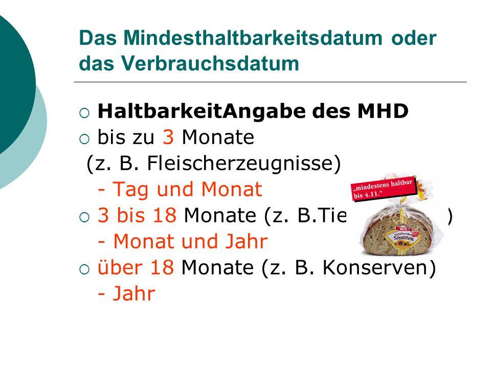 Das Mindesthaltbarkeitsdatum oder das Verbrauchsdatum HaltbarkeitAngabe des MHD bis zu 3 Monate (z. B. Fleischerzeugnisse) - Tag und Monat 3 bis 18 Mo