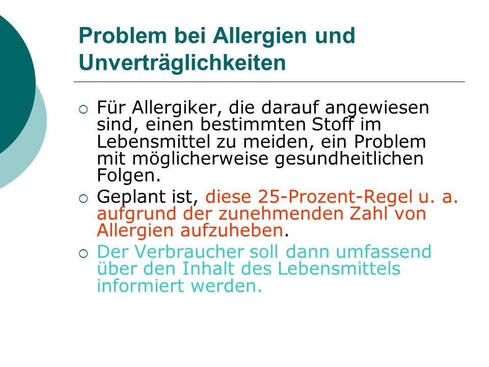 Problem bei Allergien und Unverträglichkeiten Für Allergiker, die darauf angewiesen sind, einen bestimmten Stoff im Lebensmittel zu meiden, ein Proble
