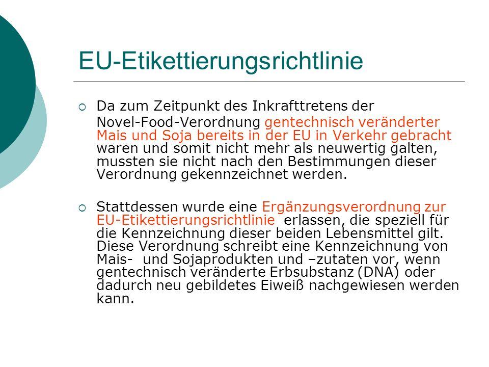EU-Etikettierungsrichtlinie Da zum Zeitpunkt des Inkrafttretens der Novel-Food-Verordnung gentechnisch veränderter Mais und Soja bereits in der EU in
