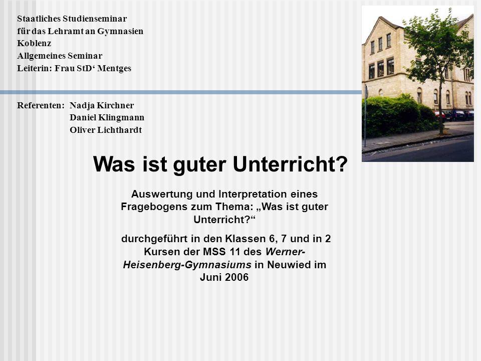 Staatliches Studienseminar für das Lehramt an Gymnasien Koblenz Allgemeines Seminar Leiterin: Frau StD Mentges Referenten: Nadja Kirchner Daniel Kling