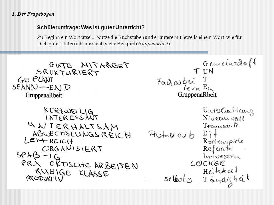 1. Der Fragebogen Schülerumfrage: Was ist guter Unterricht? Zu Beginn ein Worträtsel... Nutze die Buchstaben und erläutere mit jeweils einem Wort, wie