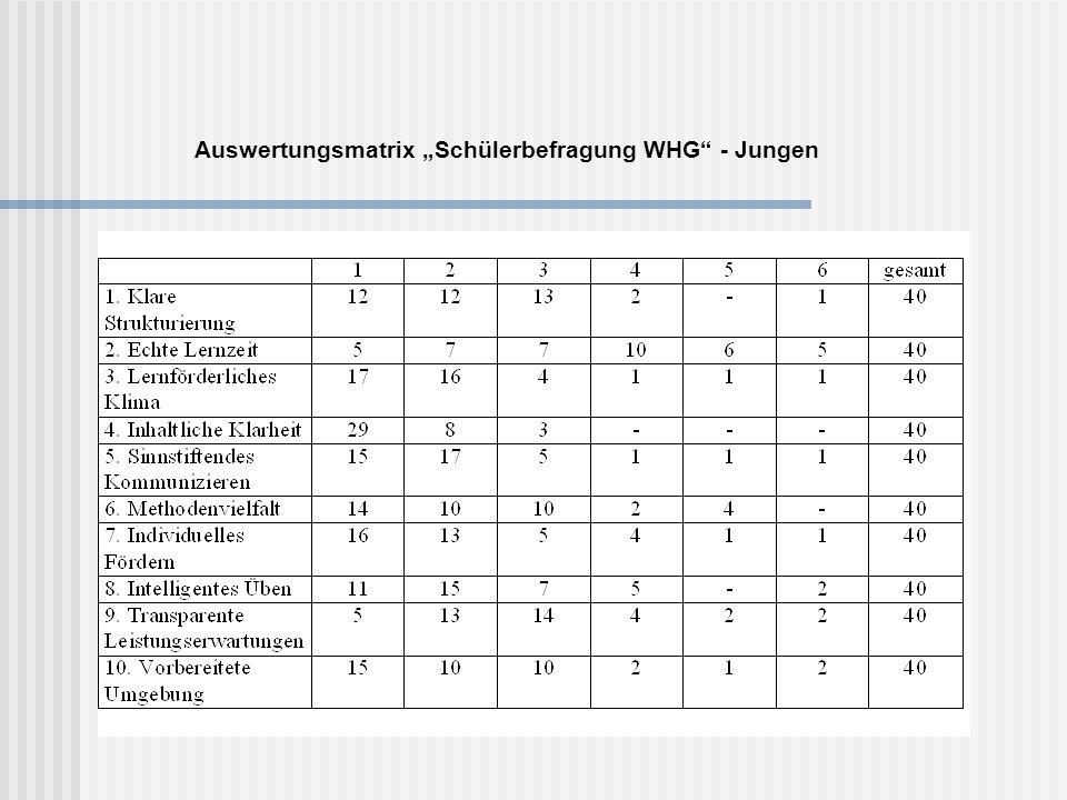 Auswertungsmatrix Schülerbefragung WHG - Jungen