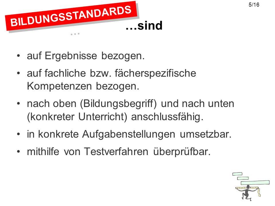 BILDUNGSSTANDARDS … …sind relevant für FACH- KONFERENZEN EINZELNE FACHLEHRER POLITSICHE DISKUSSION LEHRER- AUSBILDUNG LEHRER- AUSBILDUNG FACH- DIDAKTIK SCHÜLER- FÖRDERUNG SCHÜLER- TESTS SCHÜLER- TESTS SCHUL- TESTS 6/16