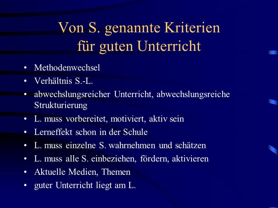 Von S. genannte Kriterien für guten Unterricht Methodenwechsel Verhältnis S.-L. abwechslungsreicher Unterricht, abwechslungsreiche Strukturierung L. m