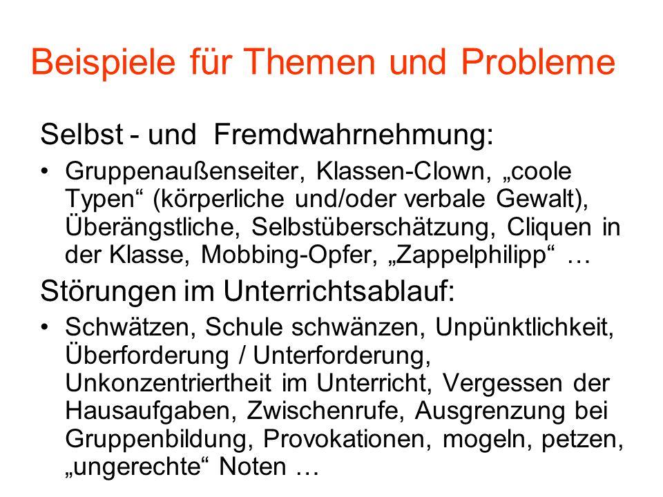 Beispiele für Themen und Probleme Selbst - und Fremdwahrnehmung: Gruppenaußenseiter, Klassen-Clown, coole Typen (körperliche und/oder verbale Gewalt),